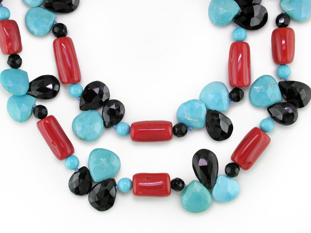 CORAL, TURQUOISE & BLACK NECKLACE