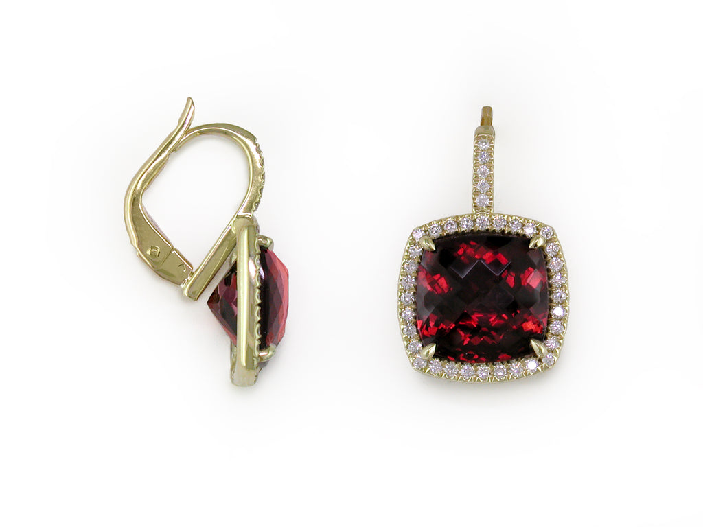 GARNET EUROWIRE EARRINGS WITH DIAMOND MICROPAVE