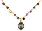 MULTICOLOR BRIOLETTE & PEARL NECKLACE WITH SOUTH SEA PEARL PENDANT