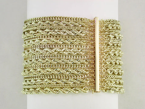 10-STRAND YELLOW GOLD BRACELET