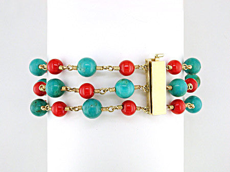 3-STRAND CORAL & TURQUOISE BRACELET
