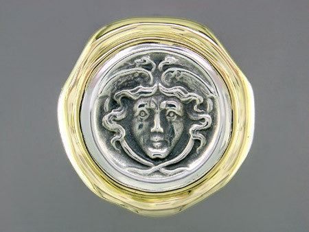 SILVER & YELLOW GOLD MEDUSA RING