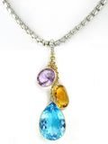 MULTICOLOR GEMSTONE PENDANT AND CHAIN
