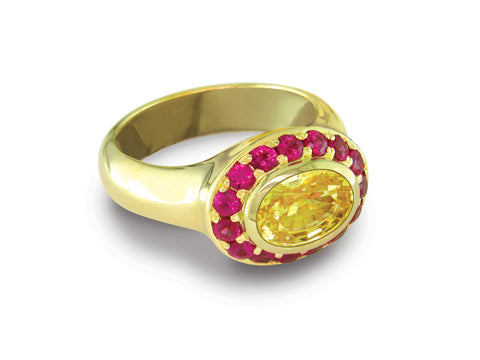 YELLOW SAPPHIRE & RUBY RING