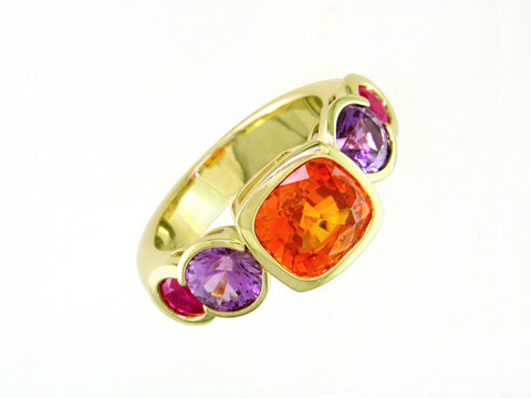 MULTICOLOR SAPPHIRE & RUBY 5-STONE RING