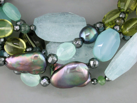 AQUAMARINE CHUNK & MULTISTONE 5-STRAND NECKLACE