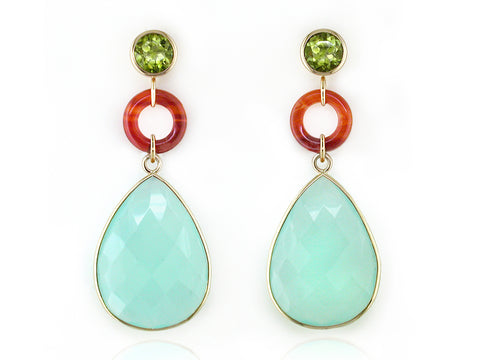PERIDOT, CARNELIAN & CHALCEDONY DROP EARRINGS
