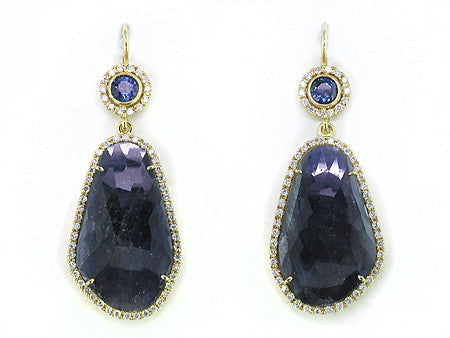 BLUE SAPPHIRE EUROWIRE EARRINGS WITH DIAMOND MICROPAVE