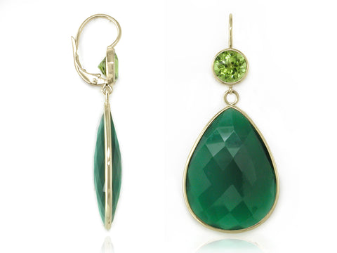 PERIDOT & GREEN ONYX EUROWIRE EARRINGS