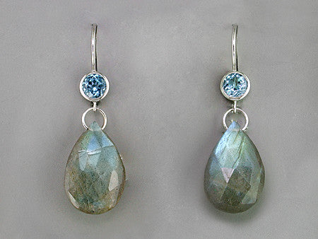 BLUE TOPAZ & LABRADORITE DROP EARRINGS