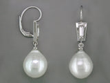 DIAMOND BAGUETTE & SOUTH SEA PEARL EUROWIRE EARRINGS
