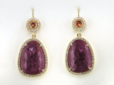 SAPPHIRE & RUBY EUROWIRE DROP EARRINGS WITH DIAMOND MICROPAVE