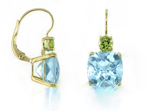BLUE TOPAZ & PERIDOT EUROWIRE EARRINGS