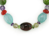 MULTI-SHAPE MULTISTONE NECKLACE WITH AGATE CENTER