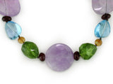 MULTI-SHAPE MULTISTONE NECKLACE WITH LIGHT AMETHYST CENTER
