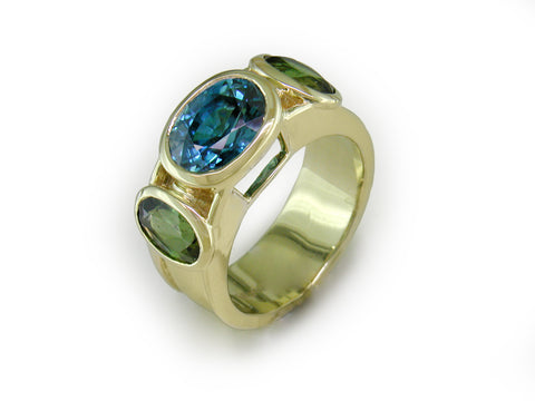 BLUE ZIRCON & TOURMALINE RING