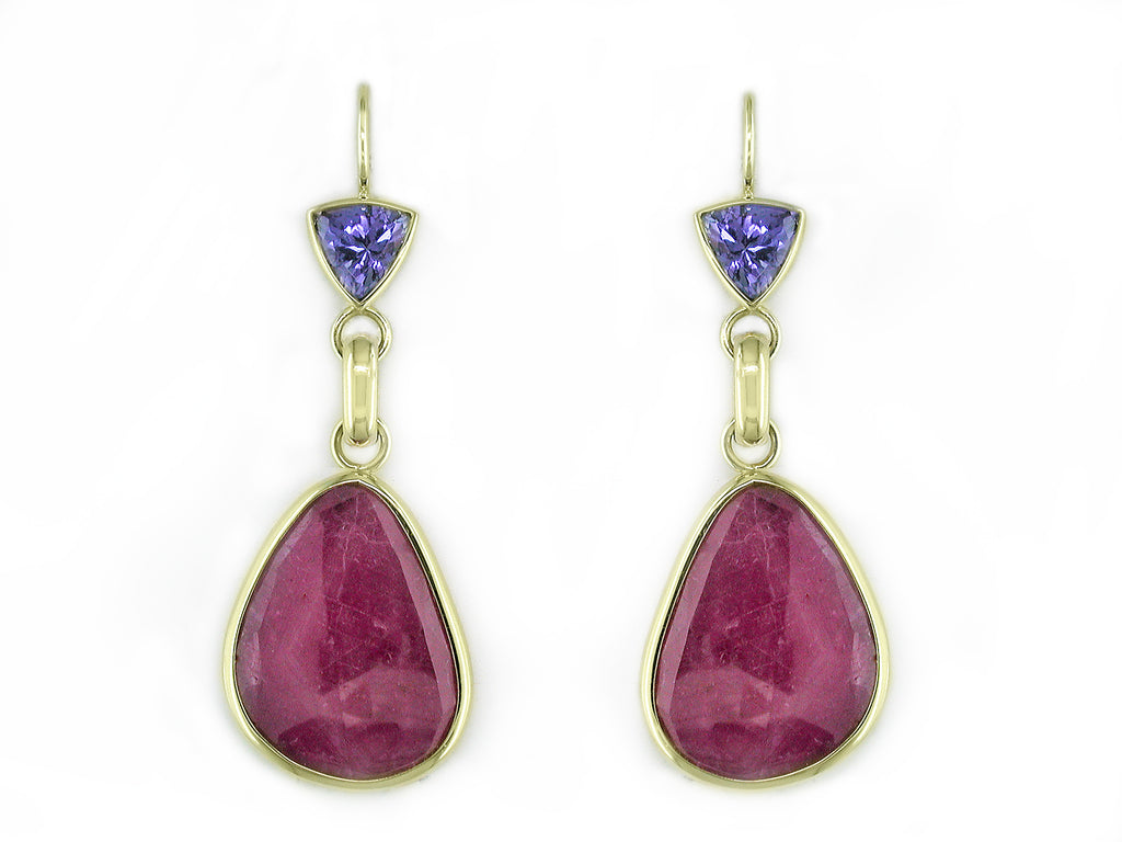 TANZANITE & RUBY EUROWIRE DROP EARRINGS