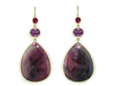 RUBY & SAPPHIRE DROP EUROWIRE EARRINGS