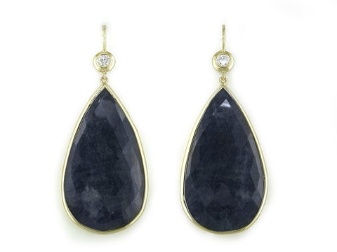 DIAMOND & LARGE BLUE SAPPHIRE DROP EARRINGS