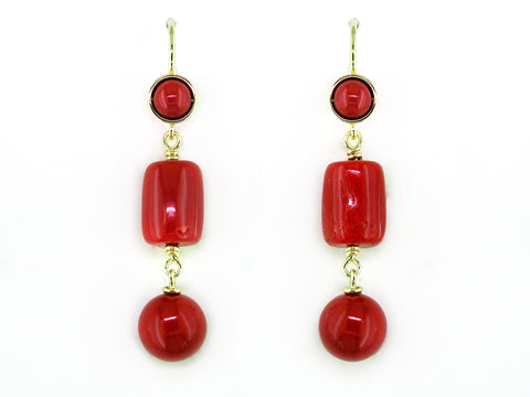 CORAL EUROWIRE DROP EARRINGS