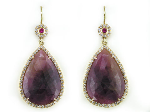 SAPPHIRE AND RUBY EUROWIRE EARRINGS WITH DIAMOND MICROPAVE