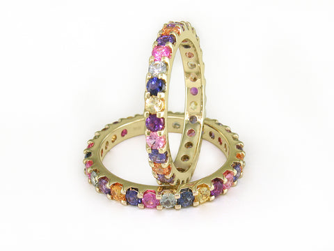 MULTICOLOR SAPPHIRE ETERNITY RING SET