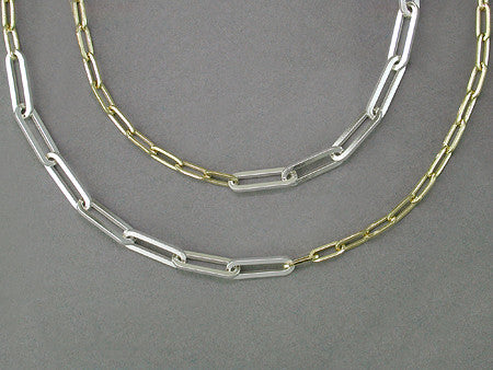YELLOW GOLD & SILVER TRACE CHAIN NECKLACE