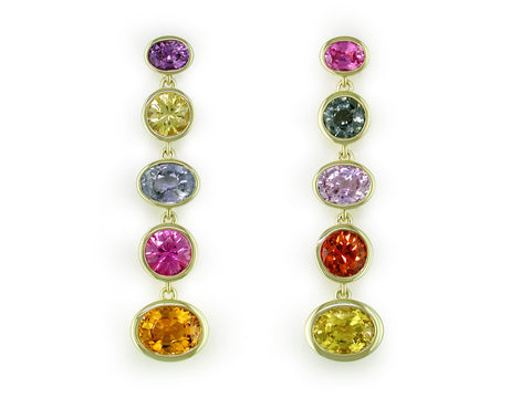 MULTICOLOR OVAL & ROUND SAPPHIRE DROP EARRINGS