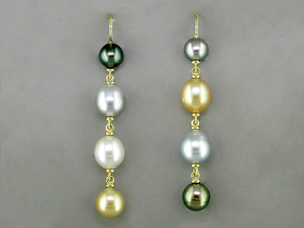 MULTICOLOR SOUTH SEA PEARL EUROWIRE EARRINGS