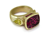 RHODALITE GARNET & YELLOW DIAMOND RING