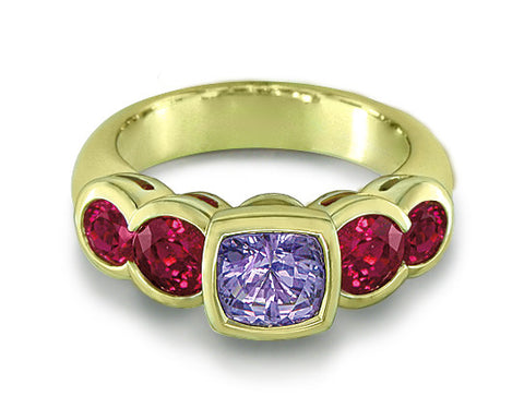 LAVENDER SAPPHIRE & RUBY RING