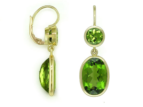 PERIDOT DROP EUROWIRE EARRINGS