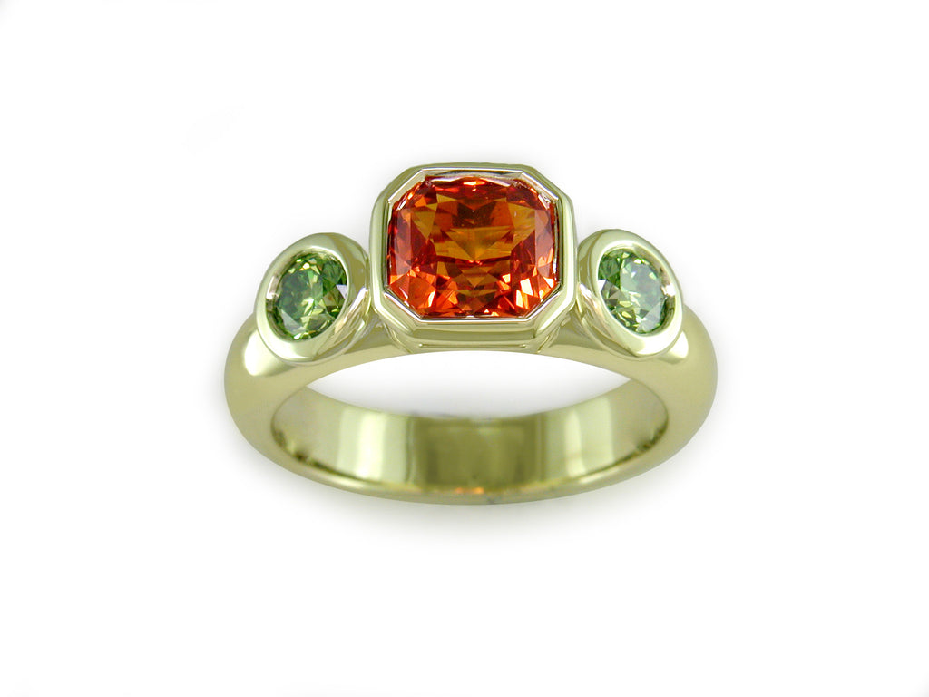 ORANGE SAPPHIRE & GREEN DIAMOND RING