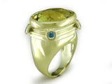 LEMON CITRINE & BLUE DIAMOND RING