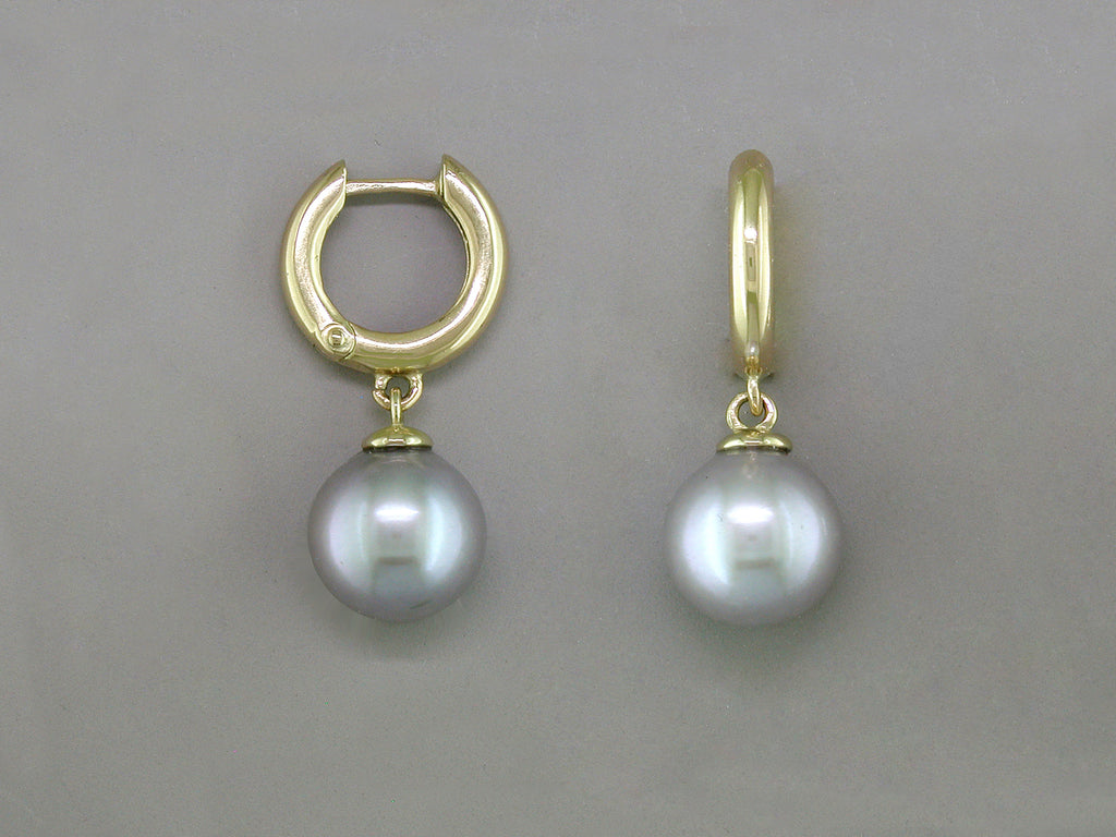 SMALL GOLD HOOP EARRINGS WITH PEARL DROP