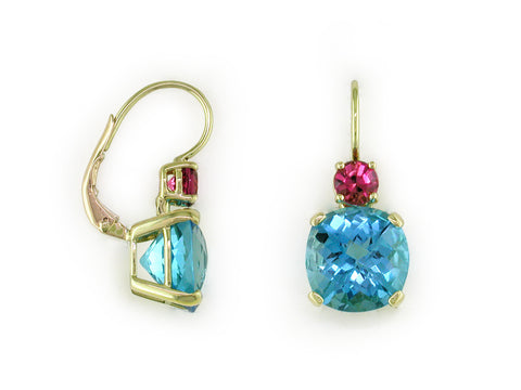 BLUE TOPAZ & PINK TOURMALINE EUROWIRE EARRINGS