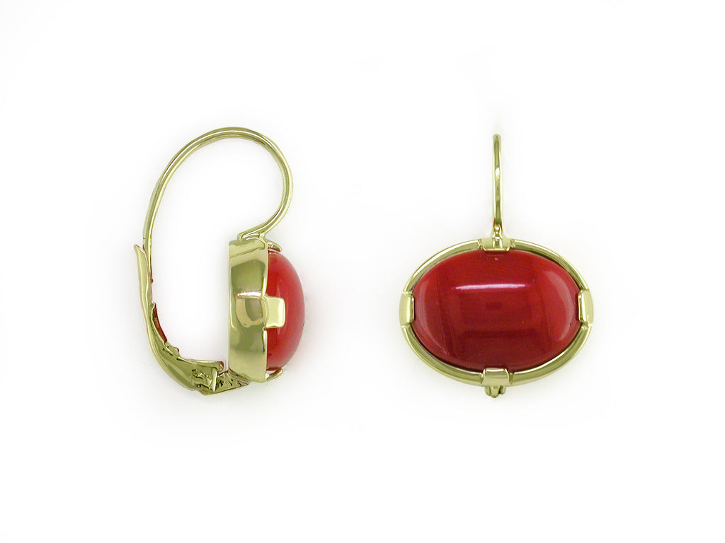 OVAL CORAL EUROWIRE EARRINGS