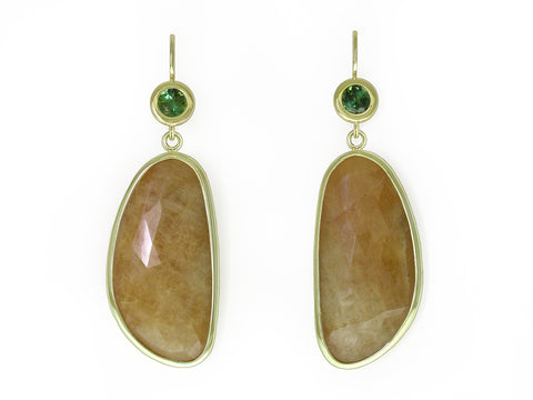 GREEN TOURMALINE & YELLOW SAPPHIRE EUROWIRE EARRINGS