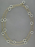 YELLOW GOLD CABLE CHAIN WITH TEXTURED SILVER LINKS