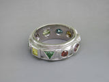 MULTICOLOR DIAMOND 10-STONE RING