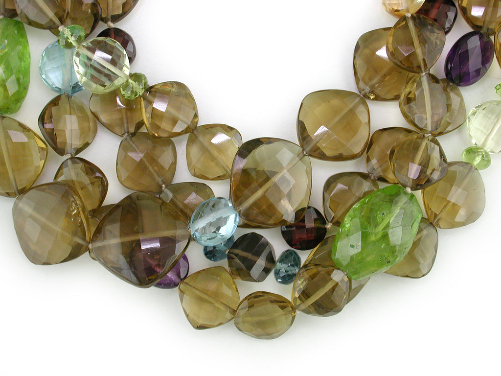 SMOKY TOPAZ MULTISTONE 4-STRAND NECKLACE