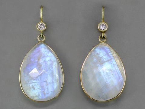DIAMOND & MOONSTONE EUROWIRE EARRINGS