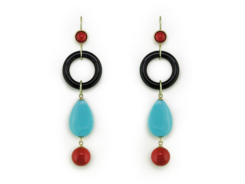 CORAL, TURQUOISE & BLACK ONYX DROP EARRINGS