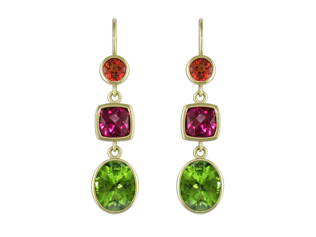 SAPPHIRE, RUBELITE & PERIDOT EUROWIRE DROP EARRINGS