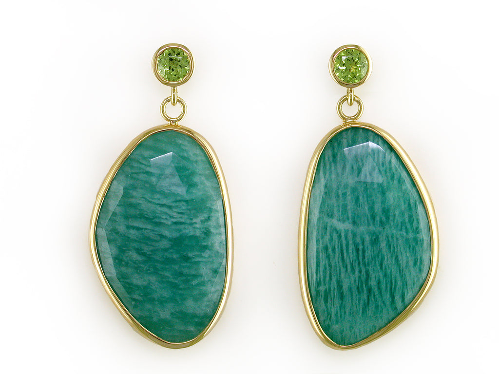 PERIDOT & AMAZONITE DROP EARRINGS