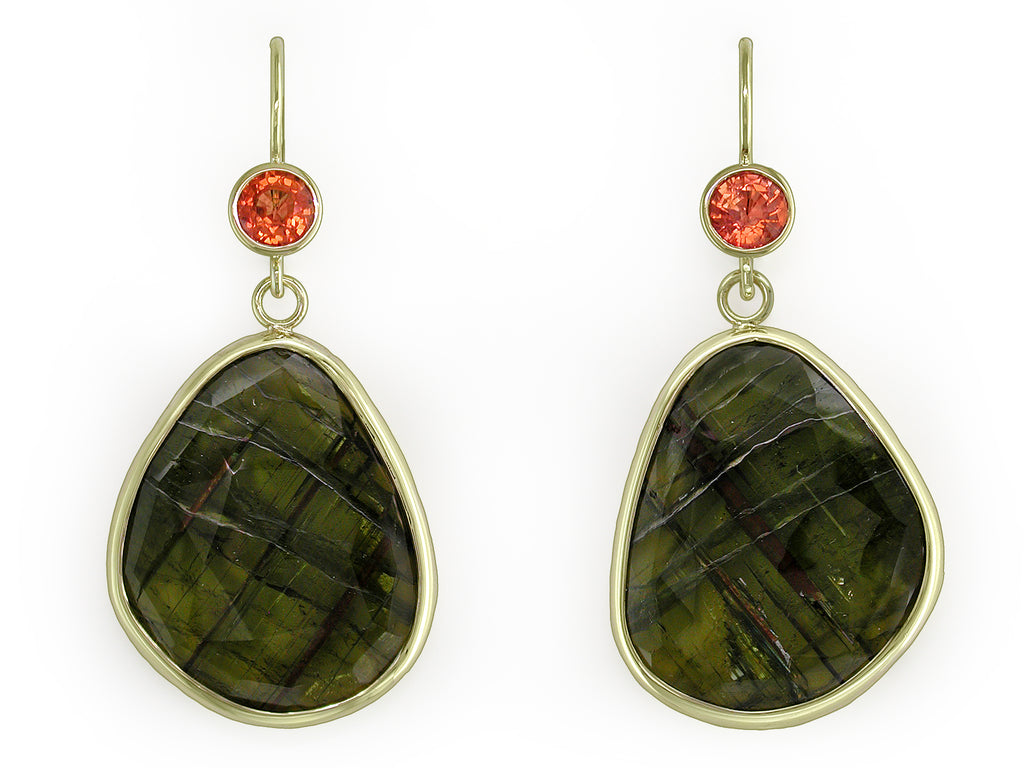 ORANGE SAPPHIRE & GREEN TOURMALINE EUROWIRE EARRINGS