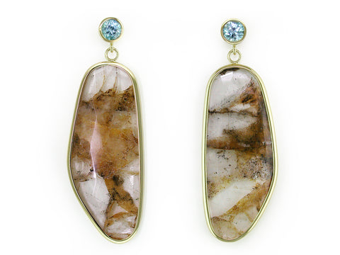 BLUE ZIRCON & RUTILATED QUARTZ DROP EARRINGS