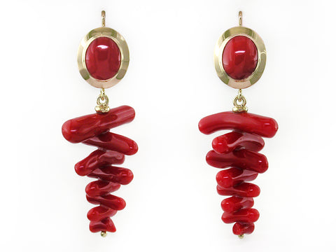OVAL CORAL EUROWIRE EARRINGS WITH CORAL DROPS