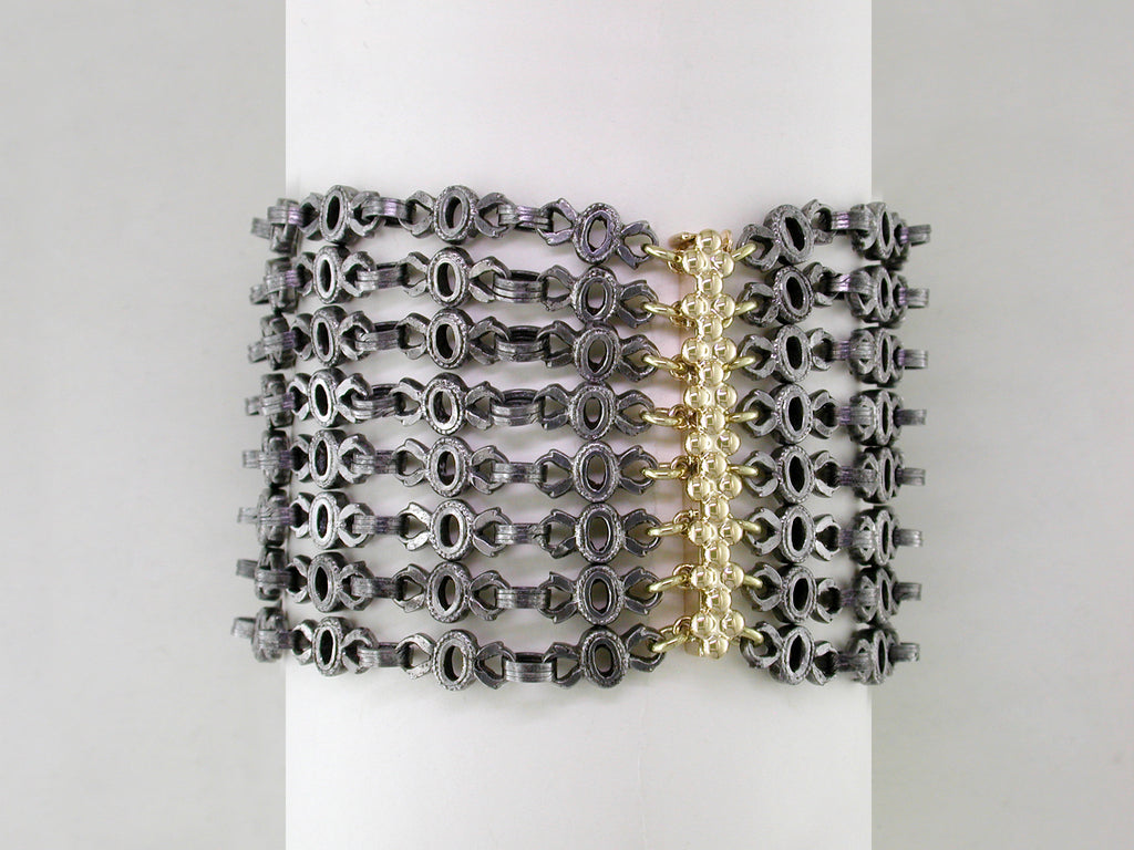 8-STRAND ANTIQUE STEEL CHAIN BRACELET