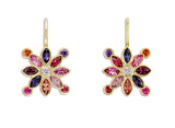 MULTICOLOR SAPPHIRE SNOWFLAKE EUROWIRE EARRINGS
